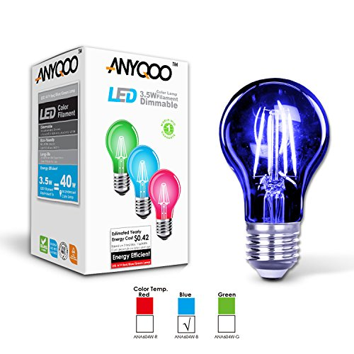 ANYQOO Led Holiday Lamps Dimmable Filament Christmas Nightlights A19 Edison Energy Saving Stained Glass Light Bulb UL Listed Incandescent 3.5w (BLUE) (Nightlight Lightbulbs Blue compare prices)