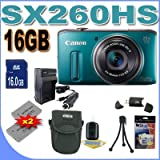 Canon PowerShot SX260HS SX260-HS 12.1 MP CMOS Digital Camera with 20x Image Stabilized Zoom 25mm Wide-Angle Optical Lens and 1080p HD Video (Green)  Premium Bundle 16 GB Memory Card, Two NB6L Battery, Battery Charger, Card Reader, Carrying Case, Mini Tripod And More!!!! thumbnail