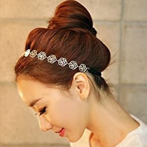 Metallic Sweet Lady Hollow Rose Flower Elastic Hair Band