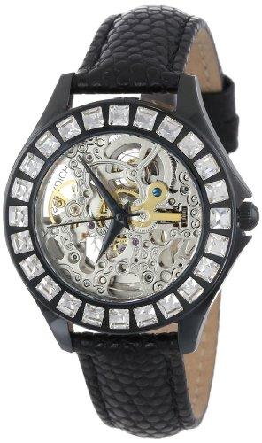 Burgmeister BM520-602 - Reloj analógico automático para mujer con correa de piel, color negro