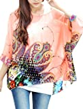Lady Round Neck Pullover Batwing Sleeve Semi Sheer Top