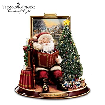 #!Cheap Thomas Kinkade Storytelling Santa Tabletop Figurine: 'Twas The Night Before Christmas by The Bradford Exchange