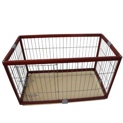"Pawhut Deluxe Folding Wood Pet Dog Pen - 46""L X 24""W X 27""H front-53211"