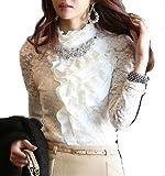 M's style ボリューム ある フリル が美しい ビジュー 付き ホワイト 艶やかな 光沢 ある ブラウス お顔周りを華やかにする 通勤 OL 華 清楚なホワイト 入学式 にぴったり 立体的 な フリル が 人気 の フリル ブラウス スーツ インナー ブラウス