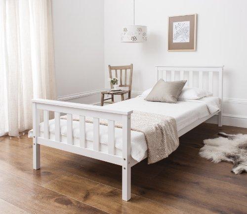 Single Bed in White 3ft Single Bed Wooden Frame WHITE Dorset