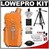 Lowepro Photo Sport Sling 100 AW Digital SLR Camera Backpack Case (Orange) + Photo/Video Tripod + Canon Cleaning Kit for Canon EOS 7D, 5D Mark II III, 60D, Rebel T3, T3i, T2i Digital SLR Cameras