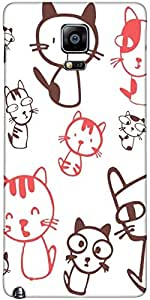 Snoogg Kitties Cute Case Cover For Samsung Galaxy Note Iiii / Note 4