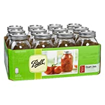 Ball Jar Mouth Quart Jars with Lids and Bands Regular Set of 12