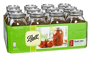 Ball Regular Mouth Quart Jars with Lids and Bands, Set of 12