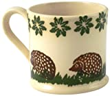 Brixton Pottery 1-Piece Stoneware Hedgehog Large Mug, Brown