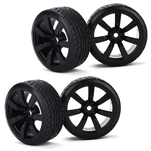 Tires With 7-spoke Wheel Rims For RC1:10 Nitro Car Flat Racing Car Pack Of 4