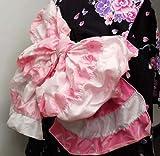 越前屋独占オリジナル!お子様フワフワボリューミー兵児帯 ピンク 子供ボーダーリボン絞り 浴衣帯