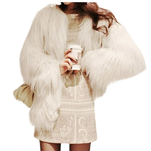 Jade Women's Winter Vintage Solid Faux Fur Short Fur Coat White 0