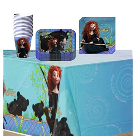 Disney Pixar Brave Party Supplies Pack Including (16) Dessert Plates, (16) Cups 9-oz, (1) Tablecover and (32) Beverage Napkins