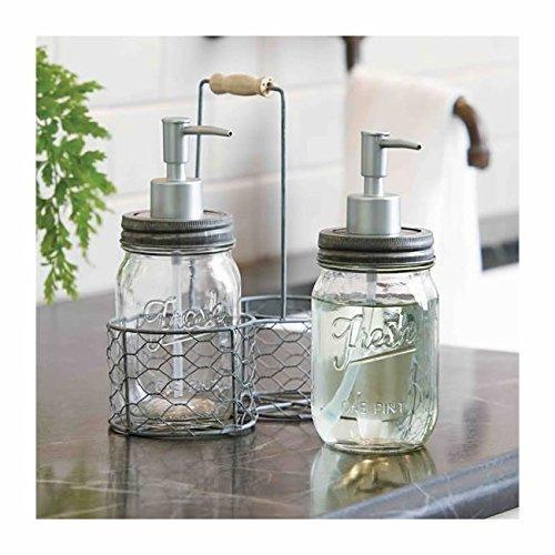 Mud Pie Fresh Jar Soap Pump Caddy, Silver (Pie Mason Jars compare prices)
