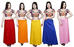 Pistaa combo of Women's Cotton Maroon, Orange, Yellow, Ink Blue and Pastle Pink Color Best Indian Inskirt Saree petticoats
