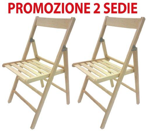 2 sedie pieghevole sedia birreria in legno naturale richiudibile per campeggio casa