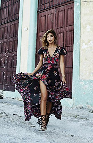 DMTRADE Easily Wear Breathable Chic Design Fashion Summer Vintage Boho Long Maxi Evening Party Beach Dress Floral Sundress M 1