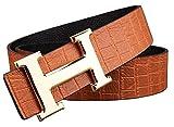 OKOKO Hバックル ベルト メンズ 紳士ビジネスベルト 革ベルト(38mm) (115cm(100CM 以下 ウエストライン), イエローゴールドのバックル)