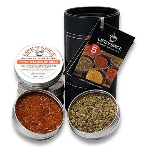 Life of Spice World Rub Collection - Confezione Regalo di 5 Rub Life of Spice (40 g/35 g/30 g l'uno)
