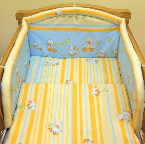 Orange ducks 6 pieces bedding set Cot bed (70cm x 140cm)