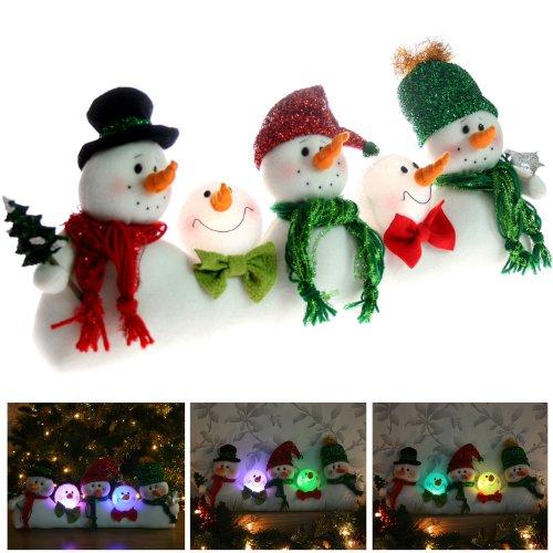 Pre-Lit Colour Changing LED Five Snowmen Christmas Window / Table Decoration - Height 21cm