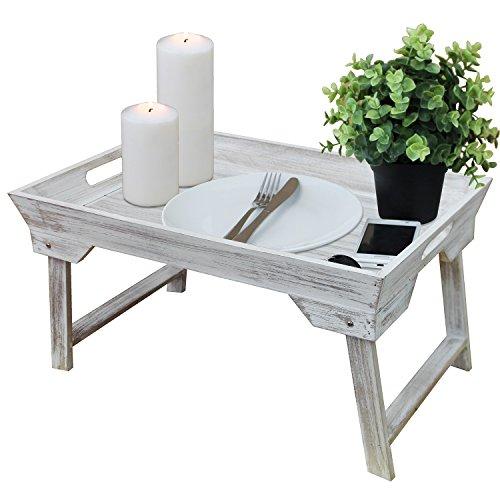 Serviertablett-mit-klappbaren-Fen-25x48x32cm-Tabletttisch-Frhstckstablett-Betttablett-im-Landhaus-Stil-WeiBraun