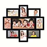 Trendzy Wooden 9-in-1 Collage Wall Photo Frame (52 cm x 1.1 cm x 57.8 cm, Black)
