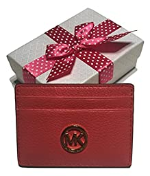 Michael Kors Fulton Credit Card Case Holder Watermelon with Bagity Gift Box
