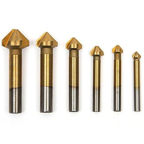 Fortag-6tlg-3-Flute-Kegelsenker-Satz-Senker-Senkbohrer-Versenker-Set-Titan-beschichtet-63-205-mm-90