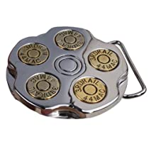 Little Hand Gun Revoler Spinner Bullet Barrel Mens Belt Buckles