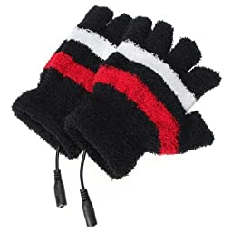 Women Girls Winter Warm Plush Stripe PC Laptop USB Heated Fingerless Gloves Hand Warmer (black)