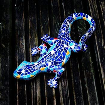 We are proud to present the Wall Mountable Orange & Yellow Mosaic Resin Lizard Garden Ornament