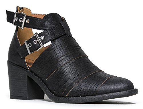 Western Slip On Cowboy Distressed Bootie - Women's Strappy Ankle Pull Wood Heel Boot