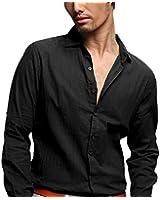 Zbrandy Men's Cotton Linen Blend Shirts Ultra Light Colorful Shirts
