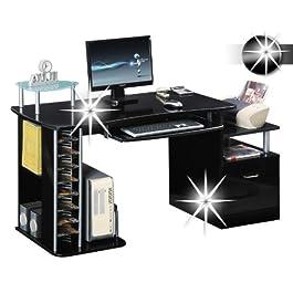 SixBros. Office - Scrivania porta pc nero lucido - S-202A/736 - struttura MDF nero