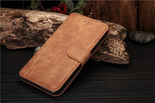 Iphone 6 Phone Case Borch Fashion Multi-Function Wallet For Iphone 6 Case Luxury Retro Leather Carrying Case Cover With Credit Id Card Slots/ Money Pockets Flip Leather Case For Iphone 6 5.5 Inch Borch Screen Protector (Brown)