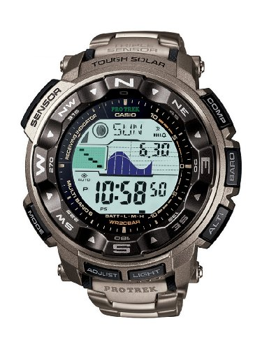 Casio PRO-TREK Men's Radio Controlled Solar Digital Watch PRW-2500T-7ER with Titanium Strap