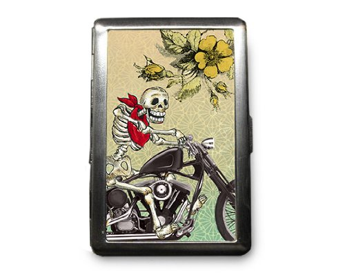 Day of the Dead Skeleton Decorated ID Cigarette Case Wallet - CD388