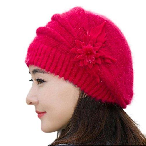 overdose-femmes-chapeau-de-fleurs-en-tricot-bonnet-crochet-hiver-chapeau-chaud-beret-rouge