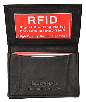 Black RFID Security Leather Expandable Credit Card ID