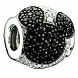 Authentic Chamilia Disney Jeweled Mickey Black Charm Bead 2025-0677 Comes with Branded Box, FREE Bonus, Ships Same Day