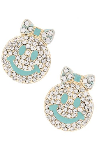 Karmas Canvas Crystal Smile Face Earrings (Turquoise) front-1067269