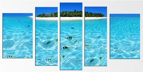 Free Starfish Clock with Island, Water, Fishes Canvas Wall Art Print Set for Home Decoration By Startonight 5 Pcs/set Total 35.43 X 70.87