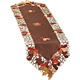 Embroidered Autumn Leaves Table Linens, Runner