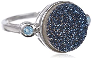 Sterling Silver Round Blue Druzy Ring with Blue Topaz-Accents, Size 6