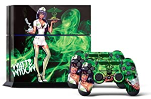 PS4 Designer Skin for Sony PlayStation 4 Console System plus Two(2) Decals for: PS4 Dualshock Controller - White Widow