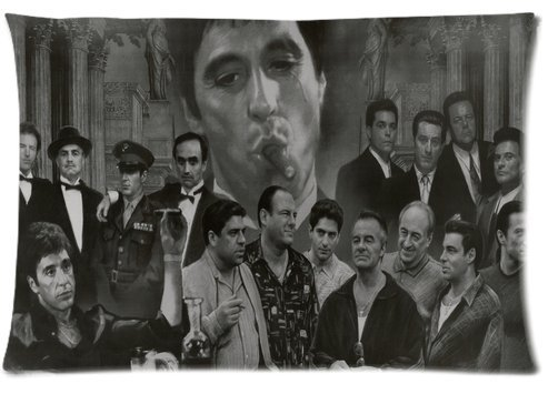 Gangsters Collage Godfather Goodfellas Scarface Sopranos Pillowcase 20x36 two sides Personalize Zippered Rectangle PillowCases Throw Pillow Covers