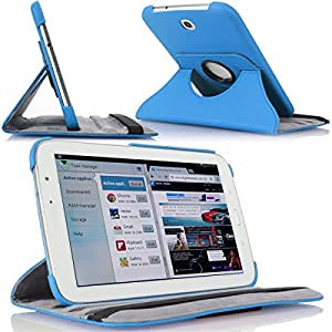 MoKo(TM) 360 Degree Rotating Cover Case for Samsung Galaxy Note 8.0 inch GT - N5100 / N5110 Android Tablet, SKY BLUE (with Vertical and Horizontal Stand and Smart Cover Auto Wake/Sleep)