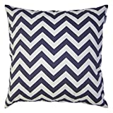 JinStyles Cotton Canvas Chevron Striped Accent Decorative Throw Pillow Cover (Navy Blue & White, Square, 1 Cover for 20 x 20 Inserts)